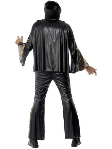 Elvis Fancy Dress Costume Black and Gold Thumbnail 2