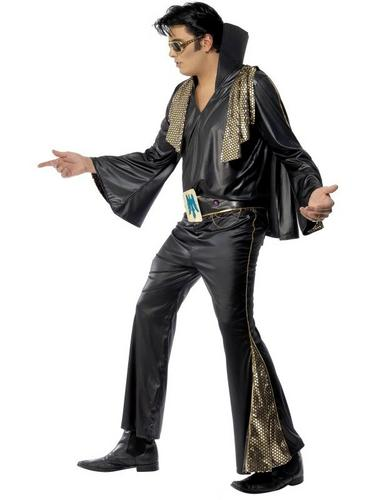 Elvis Fancy Dress Costume Black and Gold Thumbnail 3