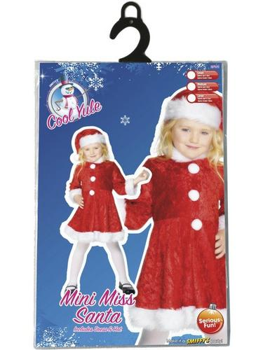 Girls Mini Miss Santa Fancy Dress Costume Thumbnail 2