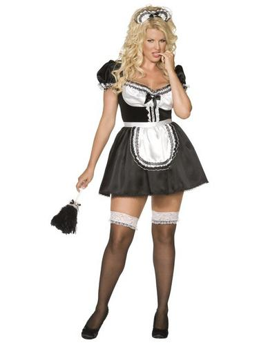 Plus Size French Maid Fancy Dress Costume Thumbnail 1
