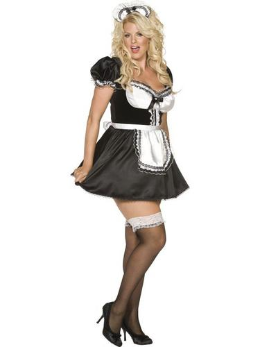 Plus Size French Maid Fancy Dress Costume Thumbnail 3