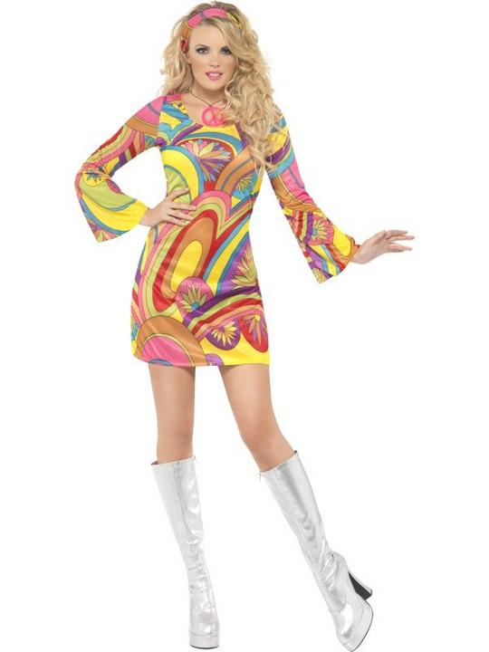 SALE! Adult Sexy 60s 70s Hippy Flower Power Ladies Fancy Dress Hen Party Costume Thumbnail 2