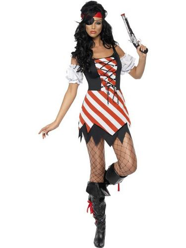 Pirate Lady Fancy Dress Costume Lace Up Thumbnail 1