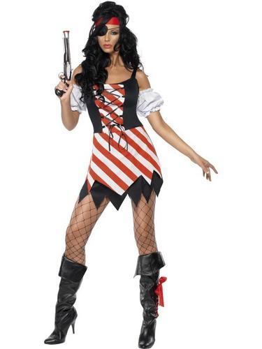Pirate Lady Fancy Dress Costume Lace Up Thumbnail 2