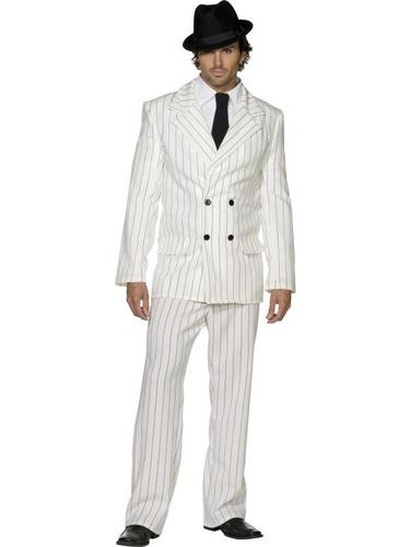 Gangster Suit Fancy Dress Costume White Thumbnail 1