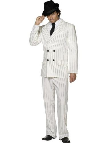 Gangster Suit Fancy Dress Costume White Thumbnail 2
