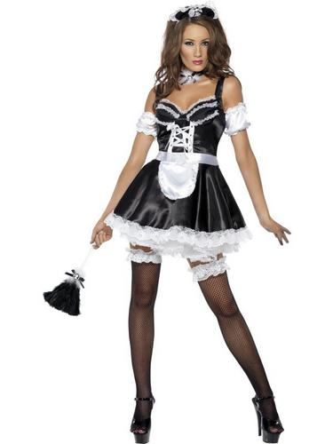 Flirty French Maid Fancy Dress Costume Thumbnail 2