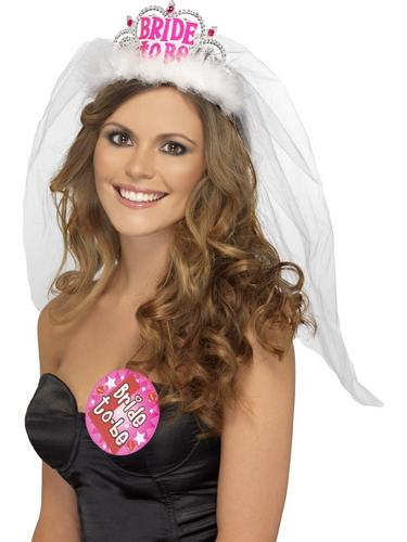 Bride to Be Tiara with Veil Thumbnail 1