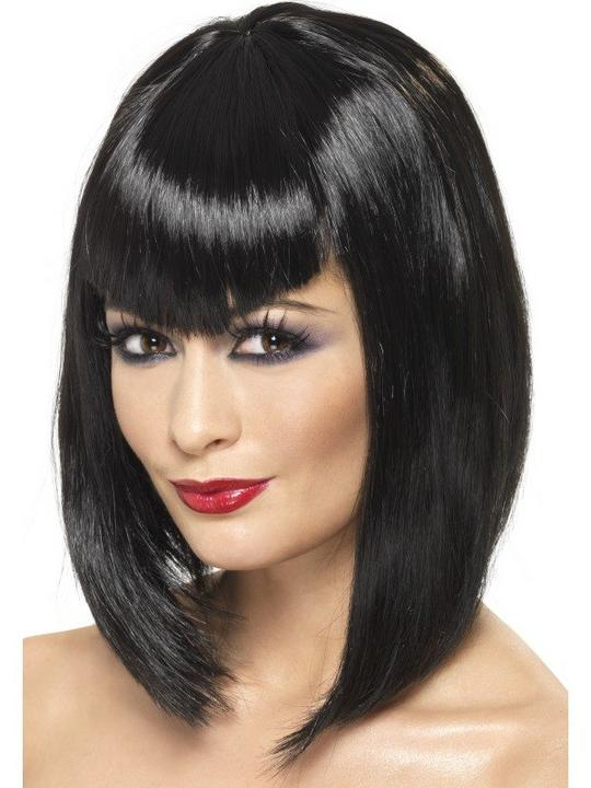 Black Vamp Fancy Dress Wig Thumbnail 1