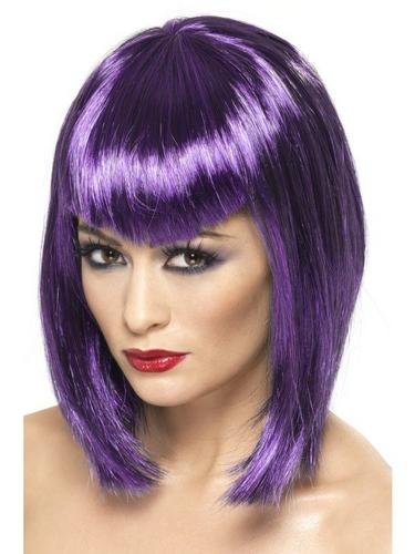Purple Vamp Fancy Dress Wig Thumbnail 1