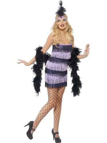 Flapper Fancy Dress Costume Black and Purple Thumbnail 2