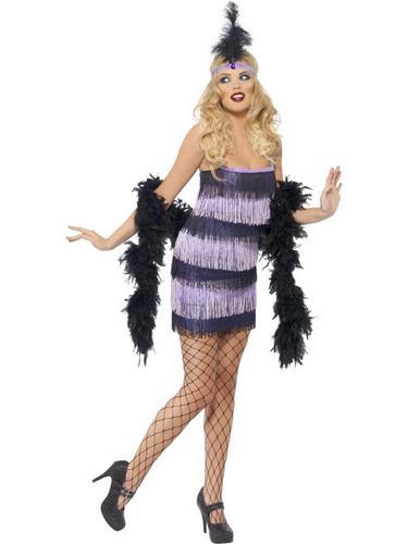 Flapper Fancy Dress Costume Black and Purple Thumbnail 2