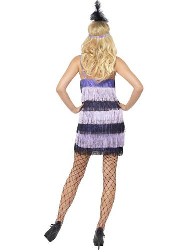 Flapper Fancy Dress Costume Black and Purple Thumbnail 3