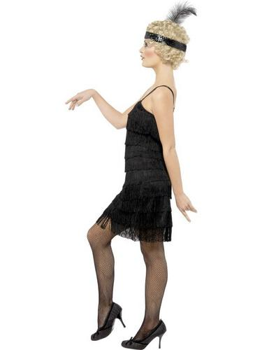 Fringe Flapper Fancy Dress Costume Black Thumbnail 3