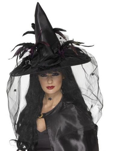 Deluxe Black Witch Fancy Dress Hat with Feathers Thumbnail 1