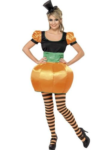 Ladies Pumpkin Fancy Dress Costume Thumbnail 1