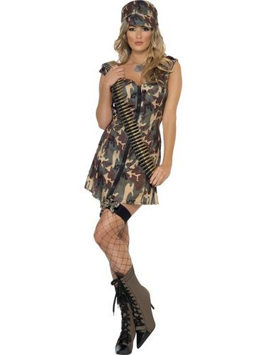 Sexy Army Girl Fancy Dress Costume Thumbnail 1
