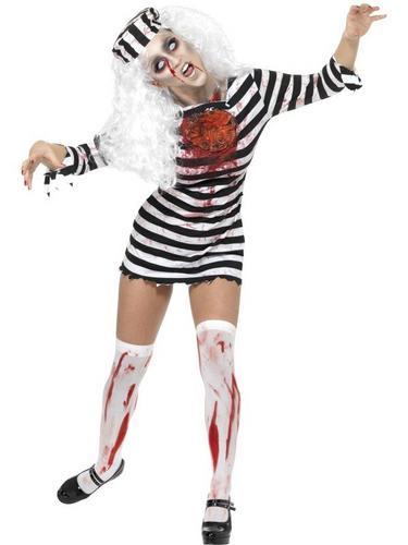 Female Zombie Convict Fancy Dress Costume Thumbnail 1