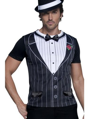 Male Gangster Instant Fancy Dress Costume T Shirt Thumbnail 1