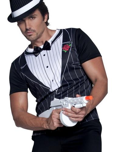 Male Gangster Instant Fancy Dress Costume T Shirt Thumbnail 2
