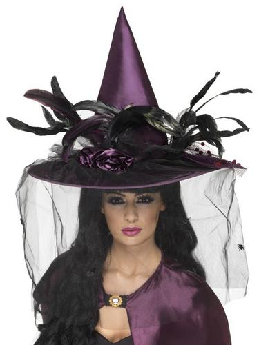 Witches Fancy Dress Hat Purple feathers Thumbnail 2