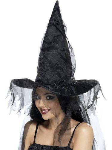 Witches Fancy Dress Hat Long Net Hair Thumbnail 1