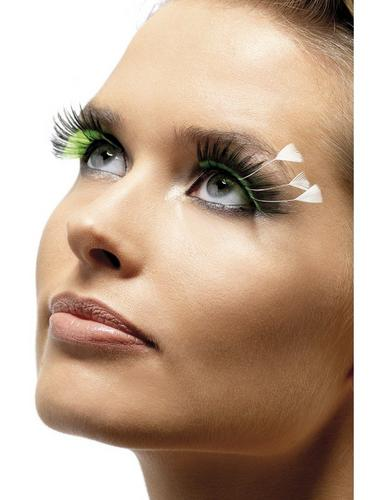 Eyelashes Green and Black with Feathers Thumbnail 1