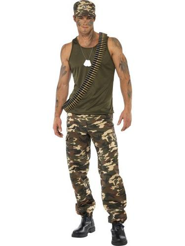 Male Khaki Camo Fancy Dress Costume Thumbnail 1