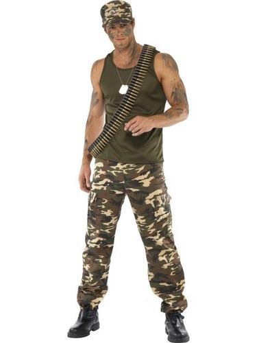 Male Khaki Camo Fancy Dress Costume Thumbnail 2