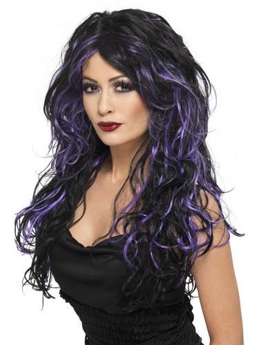 Black and PurpleGothic Bride Fancy Dress Wig Thumbnail 1