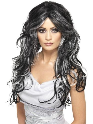 Black and Grey Gothic Bride Fancy Dress Wig Thumbnail 1