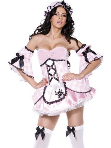 4 Piece Miss Muffet Fancy Dress Costume Thumbnail 2