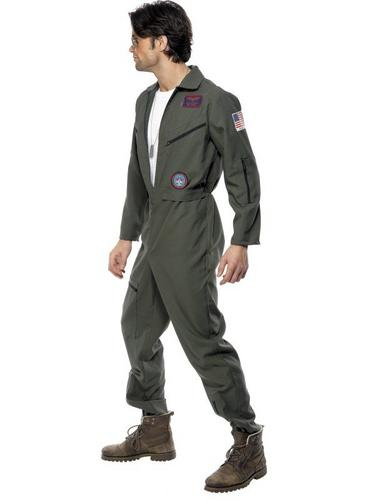 Top Gun Jumpsuit Fancy Dress Costume Thumbnail 3
