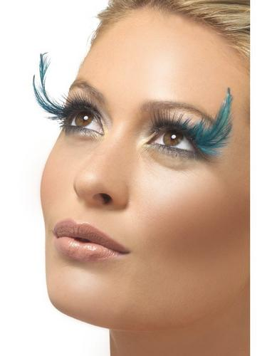 Eyelashes   Black and Green   with Feather Plume Thumbnail 1