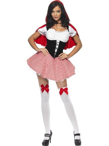 Sexy Red Riding Hood Fancy Dress Costume Thumbnail 1
