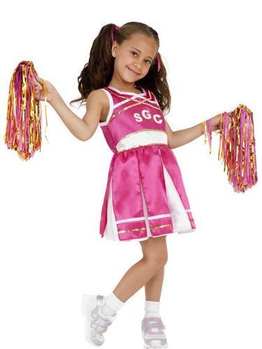 Girls Cheerleader Fancy Dress Costume Thumbnail 1