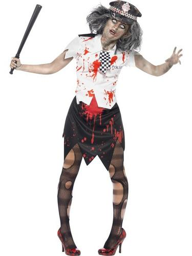 Zombie Policewoman Fancy Dress Costume Thumbnail 1