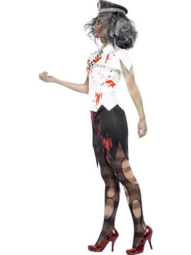 Zombie Policewoman Fancy Dress Costume Thumbnail 3