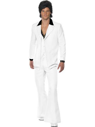 White 1970s Suit Fancy Dress Costume Thumbnail 1