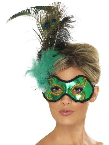 Emerald Peacock EyeFancy Dress Mask Thumbnail 1