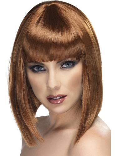 Glam Short Fancy Dress Wig, Brown Thumbnail 1