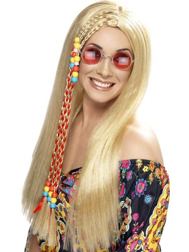 Hippy Party Wig Blonde Thumbnail 1