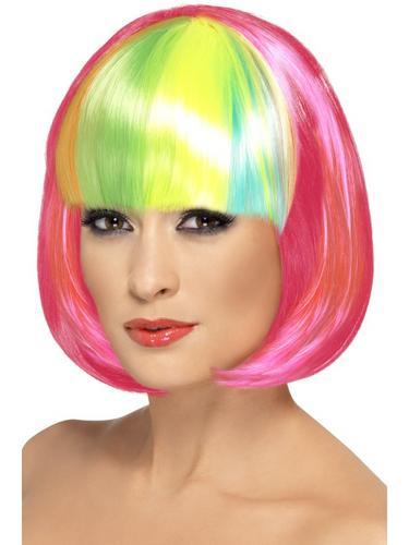 Partyrama Wig, Pink with Rainbow Fringe Thumbnail 1