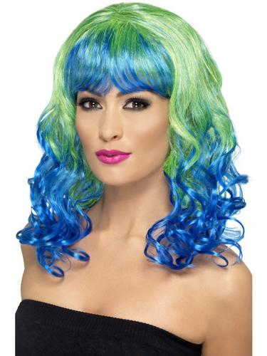 Divatastic Wig, Curly Green and Blue Thumbnail 1
