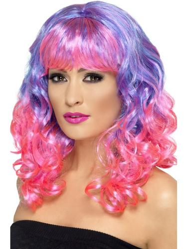 Divatastic Wig, Curly Purple and Pink Thumbnail 1
