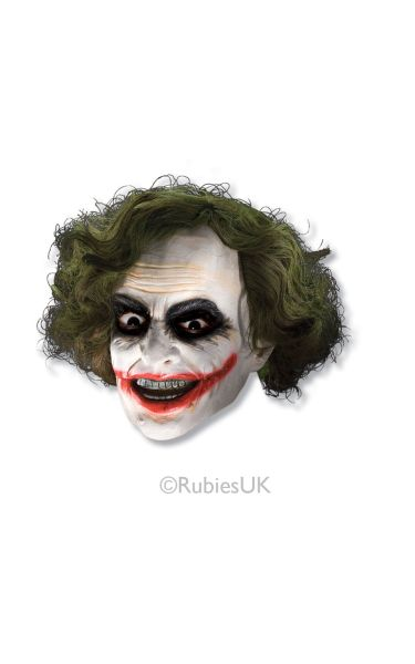 The Joker Adult 3/4 Fancy Dress Mask with Hair Thumbnail 1