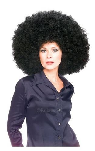 Super Afro Fancy Dress Wig Black Thumbnail 1