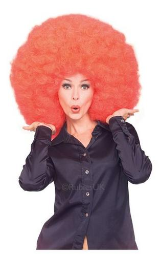 Super Afro Fancy Dress Wig Red Thumbnail 1