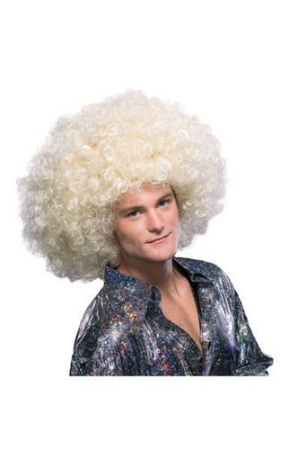 Super Afro Fancy Dress Wig Blonde Thumbnail 1
