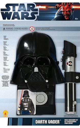 Childs Darth Vader Fancy Dress Costume Blister Set Thumbnail 1